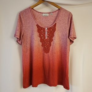 14/16 shirt ombre red with crocheted lace and gems